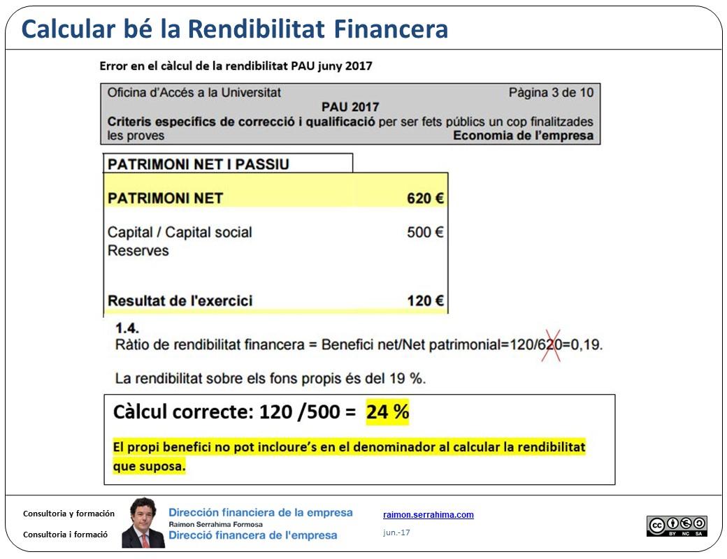 Calcular be la Rendibilitat Financera
